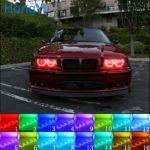 Latest Headlight Multi-color RGB LED Angel Eyes Halo Ring Eye DRL RF Remote Control For BMW 3 Series E36 1990 - 2000 4x131mm - Big Sale #2A48 | Dazzlingdivadesigns